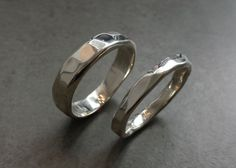 Hammered Silver Wedding Band Set Unisex Rings by alchemyhouse