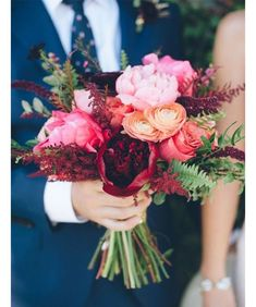 Wedding Bouquet - [tps_header]Fall wedding are very romantic and so beautiful! Just look at all those colors – red, orange, purple, pink and yellow! And a fall wedding bouquet should reflect the season somehow and the theme of your wed. Fall Wedding Bouquets, Flower Bouquet Wedding, Floral Wedding, Trendy Wedding, Bridesmaid Bouquets, Bridal Bouquets, Hand Bouquet, Fall Bouquets, Fern Bouquet