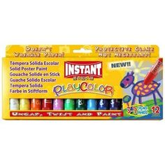Tuhé temperové barvy Instant Playcolor - sada 12 ks Painted Cups, Painted Sticks, Tempera, Gouache, Modern Warfare Pc, Poster Paint, Visual And Performing Arts, Drawing Letters, Kids Poster
