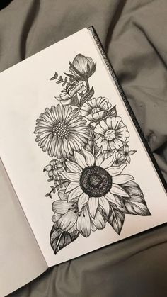 Passionflower over sunflower and poppies on the right with lavender - diy tattoo images - Passion flower over sunflower and poppy on the right with lavender - Design Tattoo, Henna Tattoo Designs, Flower Tattoo Designs, Tattoo Design Drawings, Neue Tattoos, Body Art Tattoos, Sleeve Tattoos, Thigh Sleeve Tattoo, Mermaid Thigh Tattoo