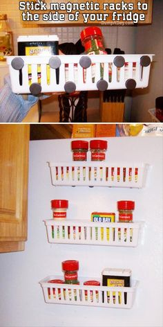 Stick magnetic racks to the side of your fridge - for an easy reach of all the spices you need.