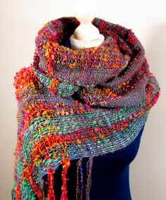 Handwoven shawl Boho shawl Infinity woven mobius scarf by PastoralWool