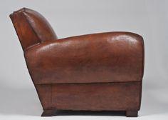 """Art Deco """"Moustache"""" Leather Club Chair"""