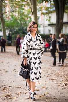 chicken print coat with socks and sandals
