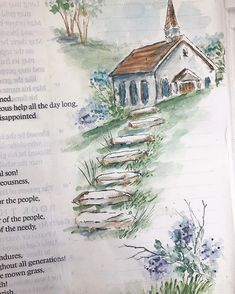 """""""Whoever dwells in the shelter of the Most High will rest in the shadow of the Almighty."""" -Ps New church project today! Scripture Doodle, Bible Art, Scripture Journal, Art Journaling, Bible Drawing, Bible Doodling, Shadow Of The Almighty, Art Impressions Stamps, Watercolor Cards"""