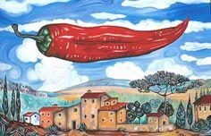 Öl auf Leinwand, 90 cm x 120 cm. Italienische Landschaft mit einer fliegenden Paprikaschote. Gemalt nach einer Buntstiftskizze.