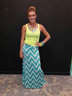 Summer Chevron Maxi Skirt