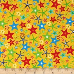 Fun At The Beach Stars Yellow from @fabricdotcom  From exclusively quilters, this quilting cotton print is perfect for quilting, apparel, and home decor accents. Colors include yellow, green, blue, orange, red, and white.