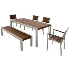 Trex Outdoor Furniture Surf City Textured Silver 6-Piece Patio Dining Set with Vintage Lantern Slats TXS124-1-11VL at The Home Depot - Mobile