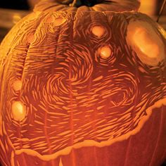 A rendition of van Gogh's Starry Night - Matthew's favorite painting. I love this - wish I could carve him a pumpkin like this!