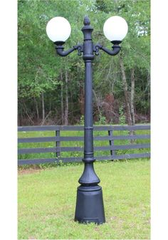 Garden Commercial Pole Light With Two Arms Acorn Or Ball Shades
