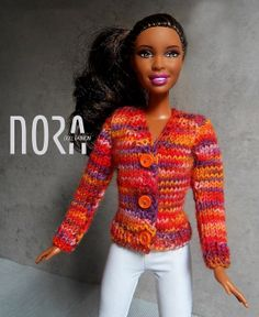Knitted V-neck cardigan for Barbie doll