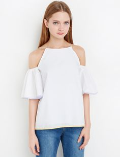 Color Trim Off The Shoulder Top #offtheshoulder #pixiemarket #cutetops