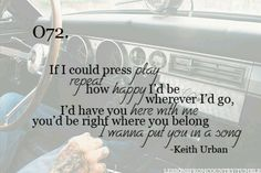 Love this song..... Even though they replay Keith Urban's songs way to may much, it's hard for them to get old because his lyrics are so catchy and sweet!:)