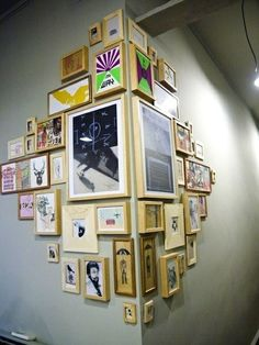 fun basement area... with kids artwork in frames
