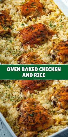 Oven Chicken And Rice, Chicken Rice Recipes, Healthy Baked Chicken, Chicken Dishes With Rice, Baked Chicken Meals, Easy Chicken Rice Casserole, Baked Chicken And Mushrooms, Oven Baked Rice, Turkey Recipes