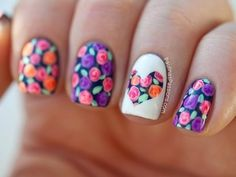 Amazing Floral Nail Designs To Copy This Spring! #flowers #heart  #nailart #cutenails - bellashoot.com