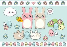 Easter Vector Clipart  Cute Easter clipart  by LookLookPrettyPaper