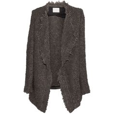 IRO  Campbell oversized textured-knit cardigan (€210) ❤ liked on Polyvore featuring tops, cardigans, drapey tops, brown open front cardigan, oversized cardigan, brown cardigan and drape cardigan
