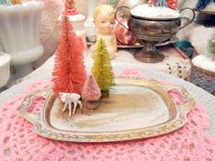Vintage Pink Bottle Brush Tree Miniature White Deer, Silver Platter  Ornament