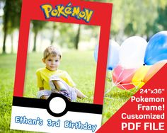 Pokemon photo props frame for party - multiple sizes and can be personalized. So cute! #Pikachu #Pokeball #birthday