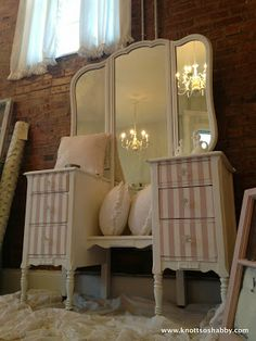 Special Touches for Special Pieces! Annie Sloan's Antoinette and Old White by Knott So Shabby