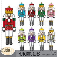 NUTCRACKERS Illustrations Clipart ***INSTANT DOWNLOAD*** Upon completed payment you will receive an e-mail with a link to your product Christmas Clipart, Christmas Printables, Christmas Holidays, Christmas Crafts, Christmas Ideas, Nutcracker Crafts, Nutcracker Christmas, Silhouette Clip Art, Photo Album Scrapbooking