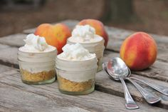 Peaches & Cream Cheesecake Cups  *i would add alcohol shots in some how* :-)