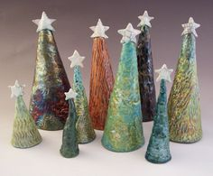 Raku Ceramic Christmas Trees Unique Holiday by ASmileBuiltIn Ceramics Projects, Clay Projects, Clay Crafts, Ceramic Christmas Decorations, Ceramic Christmas Trees, Christmas Clay, Christmas Crafts, Kids Clay, Handmade Stamps