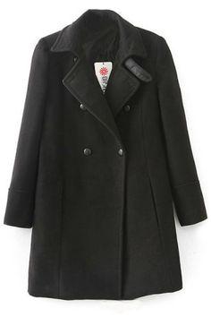 Minimalist Black Woolen Swing Coat