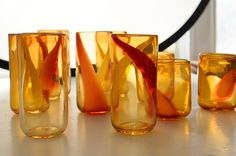 Orange MURANO Glass (set of 9) Drinking Glasses / Cups Vintage Orange, Red, White Brought To You By TheHeartTheHome on Etsy!