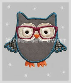 Omg, I LOVE these glasses!  I could make the cutest teacher gifts with this!  Hipster Owl Applique Machine Embroidery Digital by WorldSewSweet