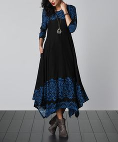 Another great find on #zulily! Black & Blue Lace-Print Handkerchief Maxi Dress #zulilyfinds