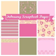 February Scrapbook Pages ~    Papers are based on a Valentine's Day Color Palette. Tutorials on how to use pages with PicMonkey and how to make your own pages with PicMonkey.    Downloads & Tutorials Links @  http://www.familyhomeandlife.com/2013/02/february-2013-scrapbook-pages.html