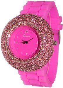 Geneva Hot Pink Elegant Crystals Rhinestones Silicone Watch,