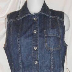 Chico's Vest Denim Jean Platinum Dark Size 1 (8) Womens NWT Cotton Spandex $74 #Fashion #Style #Deal