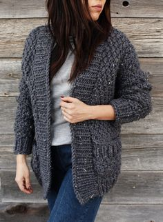 Free Knitting for Quick Cliffside Cardigan - This sweater is a quick knit in a 4 row repeat moss stitch and super bulky yarn. Designed by Alexandra Tavel for Two of Wands. XS/S, M/L, XL/XXL