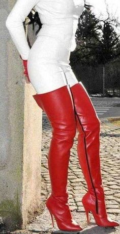 White leather pants and red thigh boots Thigh High Boots Heels, Heeled Boots, Shoe Boots, High Heels, Red Boots, Jeans And Boots, High Leather Boots, Leather Leggings, White Leather