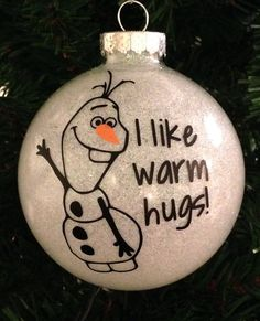 "Frozen Inspired Olaf Christmas Glitter Ornament I Like Warm Hugs 3.25"" Glass Ball"