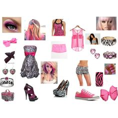 """""""zebra and pink"""" by mindlesspinkychick on Polyvore"""