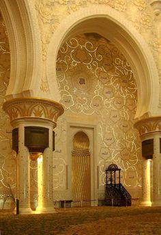 Masjid Al-Shiekh Zayed, Abu Dhabi. The 99 names of Allah in Kufic script - illuminated. Mosque Architecture, Art And Architecture, Architecture Details, Ancient Architecture, Beautiful Architecture, Beautiful Buildings, Beautiful Mosques, Beautiful Places, Abu Dhabi