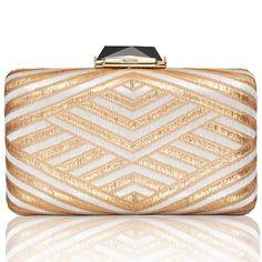 Espey Deco Brocade in White & Gold - Fabric - KOTUR Clutch & Minaudiere #KOTUR #FW13 #Clutch #Handbag #Minaudiere