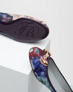 Bow detail ballerina pumps - Powder Blue | Footwear | Ted Baker UK