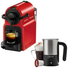 Nespresso Inissia Espresso Maker  Red C40USRENE with Aroma Stainless Steel One Serving Milk Frother