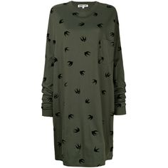 McQ Alexander McQueen Swallow oversized dress (€205) ❤ liked on Polyvore featuring dresses, green, green color dress, round neck dress, green sleeve dress, mcq by alexander mcqueen and sleeved dresses