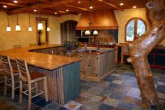 Large open kitchen in mountain retreat