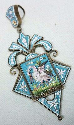 Micro Mosaic Stork Bird Antique Victorian Pendant, Italian Grand Tour Victorian | eBay