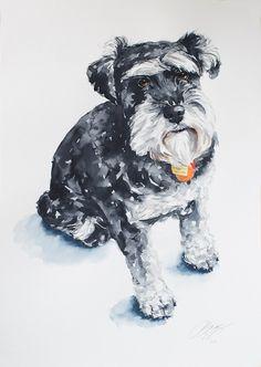 Pintura 15 X 20 custom perro retrato acuarela
