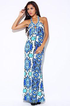 #clubwear21.com #dress #fashion blue printed bejeweled cut out halter summer evening maxi dress-$36.00
