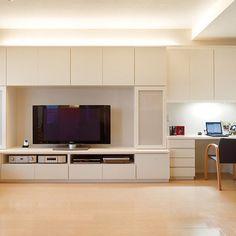 미리보기 Apartment Interior Design, Home Office Design, Home Office Decor, House Design, Living Room Bookcase, Desk In Living Room, Home And Living, Built In Couch, Muebles Living